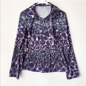 Chico's Zenergy Rain Jacket Purple & Black Zip Up